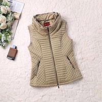 Plus size XXL Hot sales 2014 Autumn Winter Classic Brit Diamond Plaid Quilted womens vest coat winter #Y5016