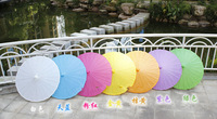 Wedding Parasols Paper Parasol Sun Umbrellas Bridal Accessories Handmade 33'' Diameter Solid Color Paper Umbrella Chinese Straig