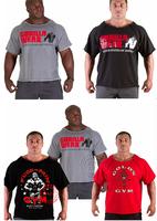 Brand Gorilla wear casual T-shirt  men bodybuilding and fitness Rag T-shirt Muscle world gym sportwear plus size