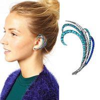 Mini Order $8.8(Mix Orders) Hot Selling Fashion Lady Gorgeous Shining Rhinestone Feather Clip Earring FE0127