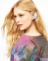 Mini Order $8.8(Mix Orders) Europe and the United States Website Synchronous Hot Selling Fashion Leaf Rhinestone Earring FE0136