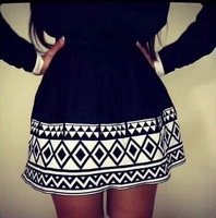 New lady black white saia Knitted patterns Geometric Quilted sundress Ball Gown tutu Skirt For Women