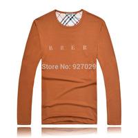 2014 Brand New Mens Fashion Tees T Shirts Casual Classic Plaid Designer Printed Flag Long Sleeves T-Shirts Men's T Shirt
