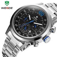Fashion Brand WEIDE men military full steel watch Japan quartz Men's watches 30m water resistant diving clock wristwatch
