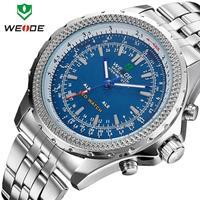 2014 Hot Sale WEIDE Original Men's Watches Stainless Steel Men Military Watch JAPAN Quartz LED Digital Movement Wristwatch