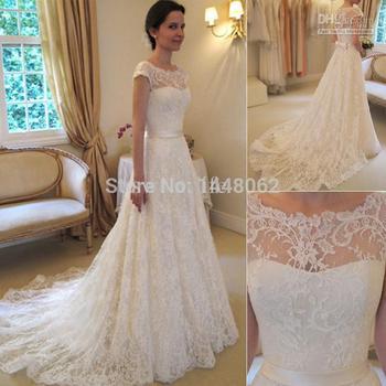 2015 новый урожай line кружева свадебные платья бато с коротким рукавом аппликации свадебные платья часовня поезд свадебное высокое качество кружева