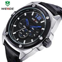 2014 Luxury Brand  WEIDE Leather Strap Gold Watch Rhinestone Men's Watches Japan Movement Quartz Analog Casual Sports Wristwatch