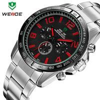 Luxury Brand WEIDE Quartz Men Watch Fashion Casual sports Men's Watches Steel waterproof male clock wristwatch 6 colors