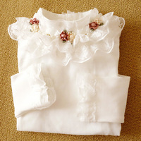 Retail!2014 new girl lace t-shirts toddler girls princess long sleeve floral outwear children clothing kids wear 3T-12