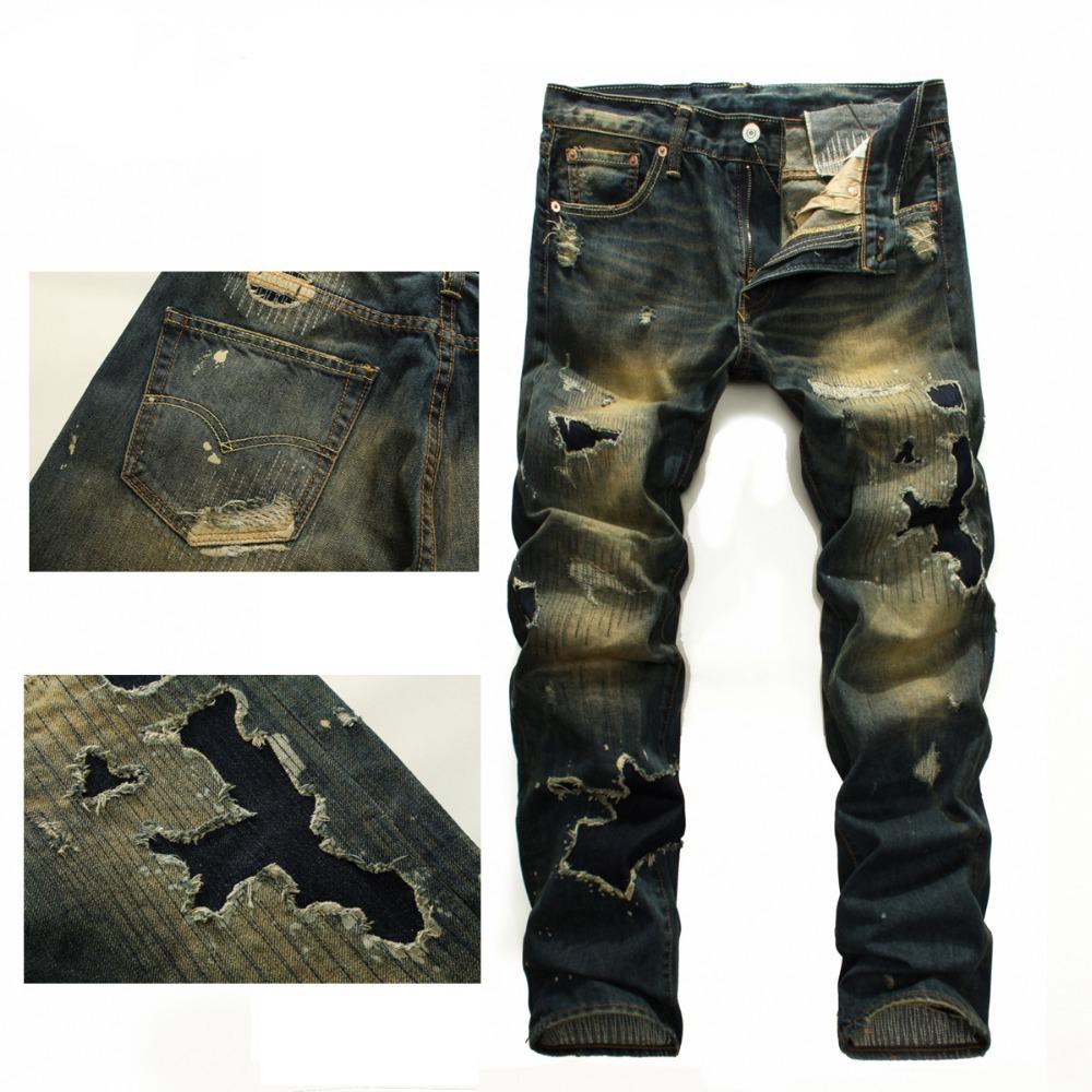 29-38 2014 Italian Famous Brand Men's Ripped Jeans,Fashion Designer Straight Large Size Denim Jeans Pants Perfume Men(China (Mainland))
