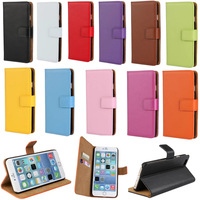 Top Quality Genuine Leather Wallet Flip Stand Skin Case For iPhone 6 Plus 5.5'' Free Shipping