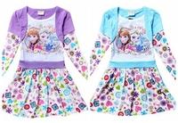NEW DESIGN! Free shipping girl clothing girls Frozen ANNA ELSA long sleeves dresses blue purple cotton dress 10 pcs/lot