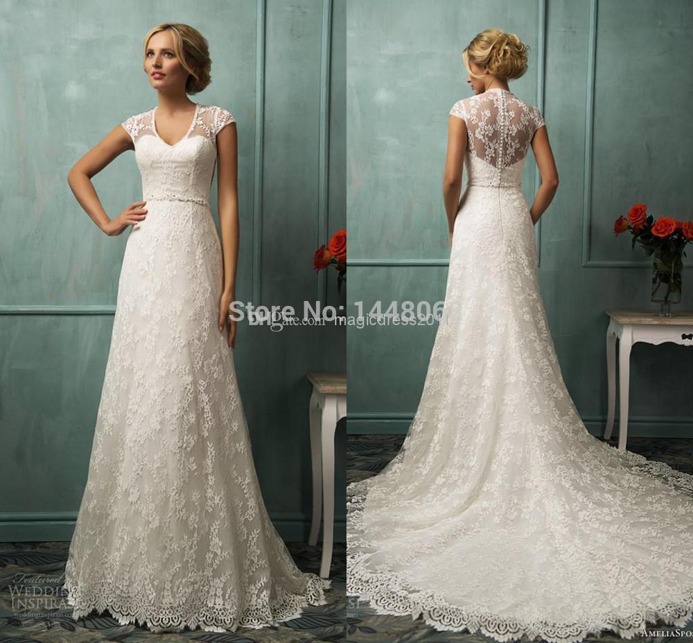 wedding dress short sleeves ivory