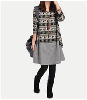 2014 new Women autumn wild o-neck pocket long sleeve dress casual loose bottoming dress vintage striped clothes plus size