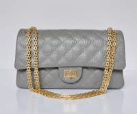 Top quality flap original brand real elephant grain leather grey gold chain women's handbag shoulder bag free shipping wholesale