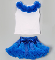 free shipping baby bright blue pettiskirt skirt tutu white top rose set baby girls tutu pettiskirt clothes set