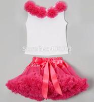 free shipping christmas 2pc hot pink fluffy tutu petticoat children clothing kids clothes pettiskirt baby girls clothing set