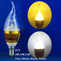 6 Pcs/lot LED Energy-saving Lamps E14 3W/4W/5W Pure White/Warm White Candle Bulb AC90-265V Gold Case Pull Tail
