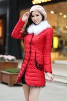6XL 7XL Plus Size 2014 New Korean Wholesale Cotton Warm Coat with Lace Blacke Red Long Woman Luxury Jacket Winter Women