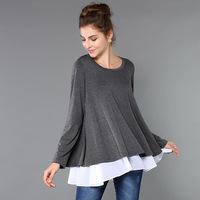 M-5XL 2014 Autumn Winter Ladies European Large Size XXXL Long sleeve Big Swing Cotton T shirt Double Layer Loose Blouse