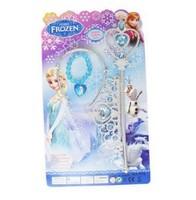 12sets Frozen Elsa Queen's Crown Magic Wand Frozen Bracelets sets