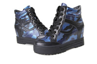 Free shipping 2014 new leather CAMO mens casual thick bottom inner increased women's sports shoes.