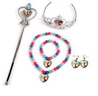 10sets Frozen Elsa Queen's Crown Magic Wand Frozen Bracelets Necklace Earrings sets