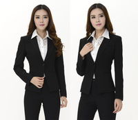 2014 New High Quality Formal Pantsuits For Office Ladies Work Wear Blazer And Pants Autumn Winter Beautician Uniforms Blazers