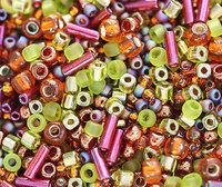 Beads Mix, TOHO Seeds - Olivine Green Orange - N 3227, rocailles, glass beads - 10g - S268