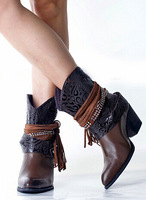 2014 New arrival appliques beaded female fashion boots women tassel ankle boots ladies high heels suede leather autumn boots