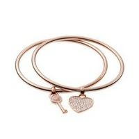 New Arrival Noble Female Jewelry Letters Rhinestone Key Heart Charm Bangle Bracelet Pulseras Women Ladies Party Accessories