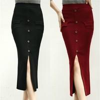 2014 Autumn New Front Split Button Decoration Slim Mid-calf Skirt Women High Waist Pencil Skirts Dropshipping High Quality