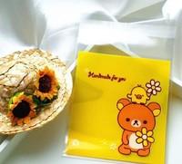 100pcs 10x13cm 10x10+3cm Cute Flower Bear Self Adhesive Bag Cookie Food Bag Packaging Plastic OPP Bag Jewelry Gift Poly Bag