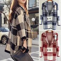 Autumn and winter Cardigan jacket women coat loose Large plaid casual coat