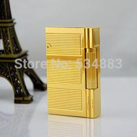 Best selling 100% New Vintage Memorial dupont lighter gas lighter cigar cigarette lighter Golden metal
