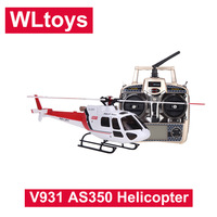 Original Wltoys V931 6CH Flybarless 3/6 Axis Gyro 3 Blade AS350 Scale RC Helicopter helicoptero de controle remoto a