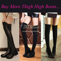 2014 Fall Black Suede Flat Hidden Wedge Genuine Leather Over The Knee Boot Chunky High Heel Thigh High Boots For Plus Size Women