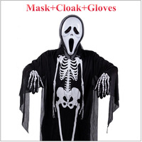Halloween Cosplay Scream Skull clothes Skeleton Devil Cloak Death Cloak With Mask Gloves Halloween Costumes 3pcs/lot