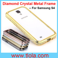 100pcs/Lot Free Shipping Swiss Post: 2014 New Luxury Diamond Crystal Metal Frame for S4 I9500 (For S3 S5 Note 2 Note 3 Optional)
