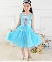 girl dress Girls Frozen Dress girl Custom-Made Cosplay Dress Costumes+frozen crown  for 110cm~140cm girl 224