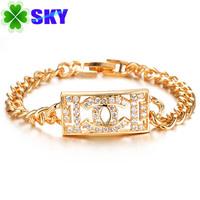 SKY Wedding 18K Gold Plated Bracelet Delicate Zircon CC Stainless Copper Alloy Bracelets For Woman 18.5cm Wristband SK431