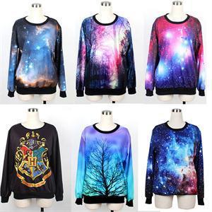 Новинка осень muiti узор толстовка женщины мужчины длинный рукав с круглым вырезом galaxy пространство пуловеры кофты для влюблённые
