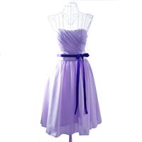 Top-rated 2014 short design tube top chiffon bridesmaid dresses,light purple vestido de madrinha with ribbons,Factory price Sale