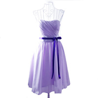 Top-rated 2014 short design tube top chiffon bridesmaid dresses,light purple vestido de madrinha with ribbons,Factory price Sale