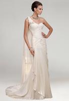 P14W102 Ivory 2015 One Shoulder Ruching Floral Design Elegant Gorgeous Luxury Unique Long Bridal Wedding Gown Bridal Dresses