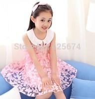 girl dress girl print dress girl knee-length dress  girl  bow dress   226