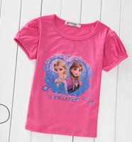 Girl t shirt frozen 2014 summer hot sale children clothes girl clothing tops short fashion casual children outerwear