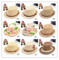 Retail 42 male and female models fashion 2014 new Korean children baby straw hat jazz hat belt buckle
