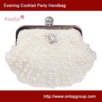Elegant pearl rhinestone embellished clutch evening purse bag