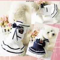 10pieces/Lot Cute Navy Bowknot Dog Dress Fashion Summer Skirt Pet Apparel Doggie Clothes